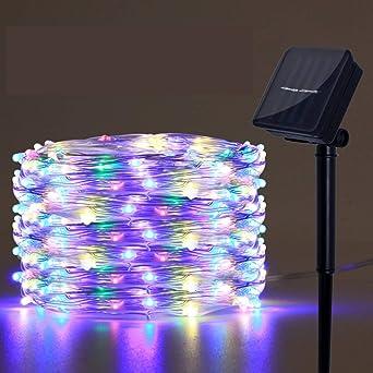 luz solar jardin luz,Luces de cadena LED, luz de regadera impermeable, luz de hadas con energía solar, luces de vacaciones, iluminación de la guirnalda de árboles, luz solar al aire libre: Amazon.es: