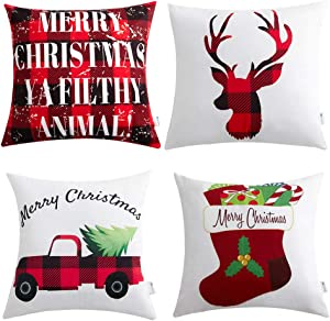 Anickal Christmas Pillow Covers 18x18 Red and Black Buffalo Check Velvet Throw Pillow Case with Christmas Truck Deer Socks for Holiday Farmhouse Home Decorations