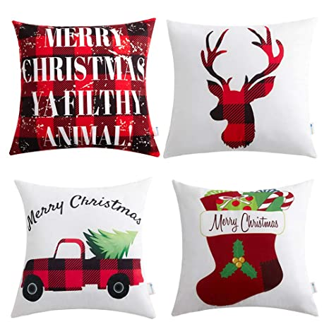 anickal christmas holiday decorations christmas red and black buffalo check velvet holiday pillow covers 18 x