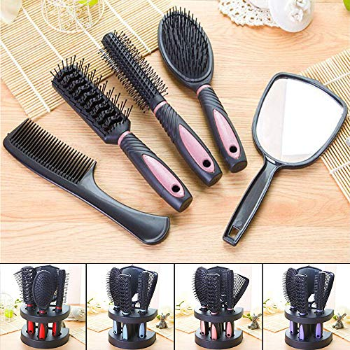 (Hair Comb Set Professional Salon Cutting Brushes Sets Comb Hair Brush Styling Tools Mirror And Holder Stand Set 5Pcs)