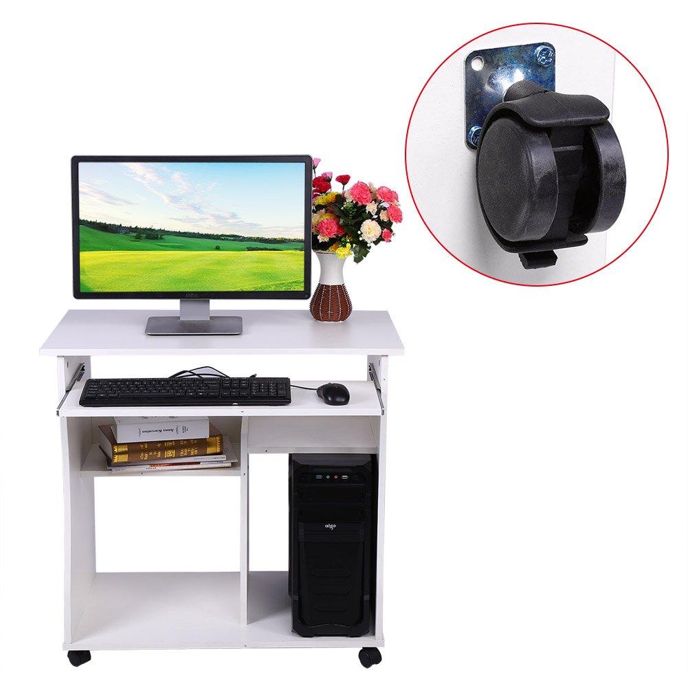 Porta PC in Un Design Moderno SOULONG Scrivania per Computer con Rotelle Bloccabili Tavolo per Computer con Ripiano Portaoggetti per Casa//Ufficio Bianco