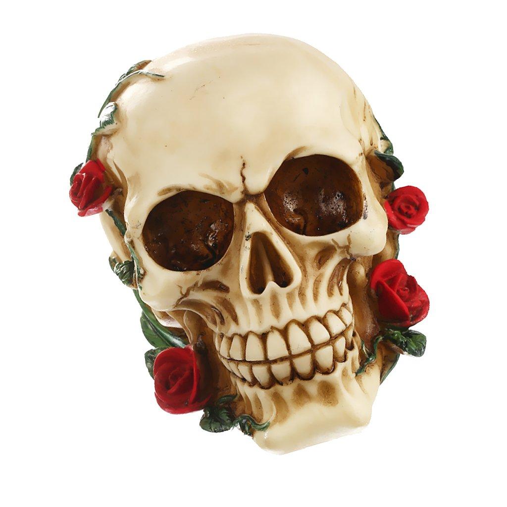 MagiDeal 3D Gothic Cranio Teste con Rose in Resina Sculture Soprammobili Arredamento Casa Partito Bar