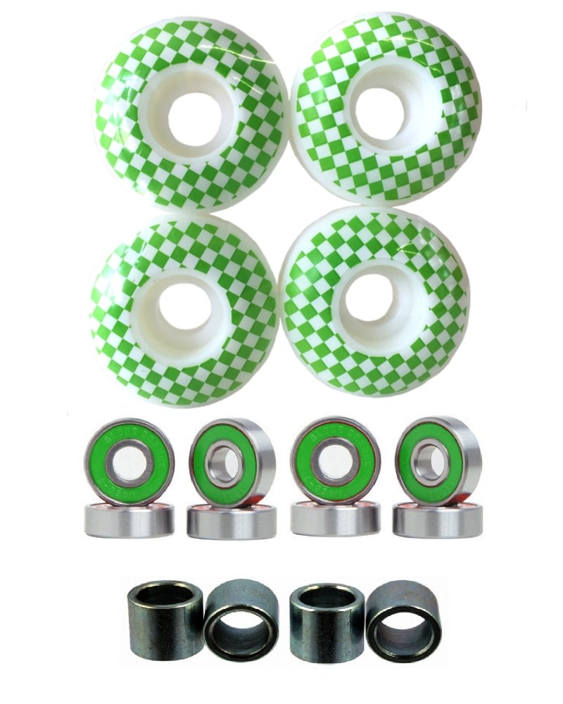 Everland 52mm Wheels w/Bearings & Spacers (White Green Checker) by Everland