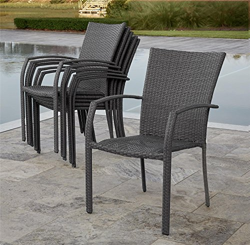 (Cosco Outdoor Living 88596GBLE Lakewood Ranch Stacking Dining Chairs with Blue cushions, 6)