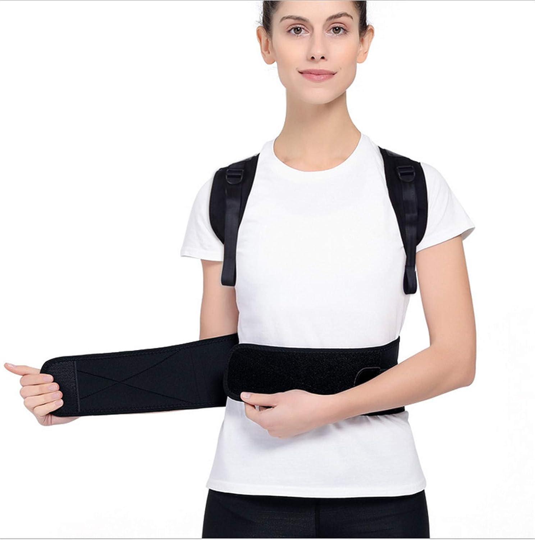 UNIQUE-F Postura Tirantes Apoyo para la Espalda con Vestido ortopédico Espina Lumbar Ortesis Masculino Mujer Niño Ajustable Negro