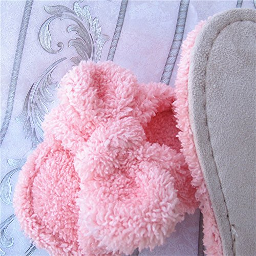 Eastlion Women's and Girl's Home Floor Soft Comfortale Wear Indoor Anti-Slip Plush Bow Slippers Shoes Pink nveqzy
