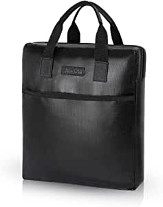 Fireproof Document Bag, Business Lawyer Portfolio Bag for Important A4 File Legal Document Size Papers (Black)