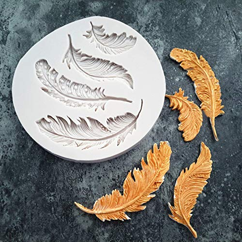 Gotian Silicone Feather Fondant Mould Cake Animal Birds Plume Chocolate Baking DIY Mold - from Sweet Candy Treats to Irresistible Caramels -Long lasting (12 x 9.6 x 1cm) (Gray)