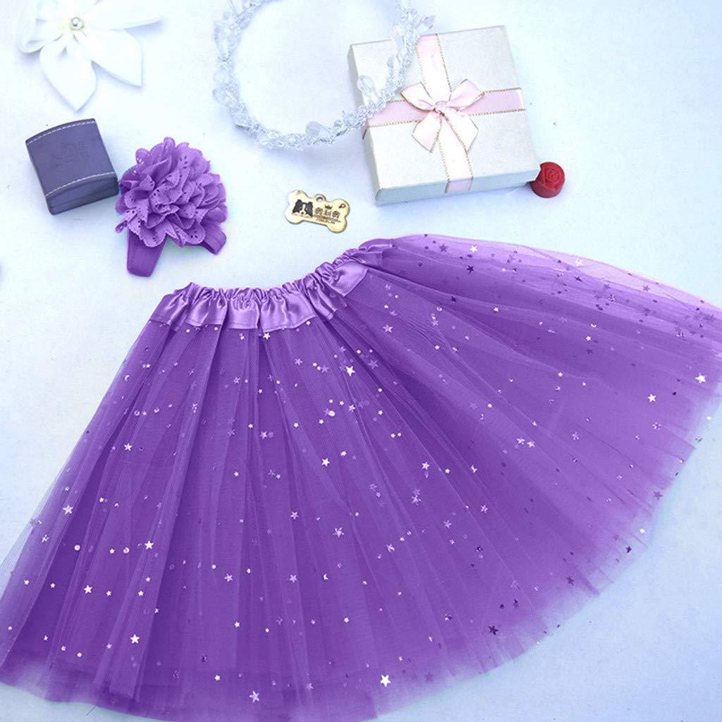 Minshao Kids Girl Petticoat Paillette Star Pettiskirt Hair Band Tutu Skirt Dancewear for 3-8 Years Old