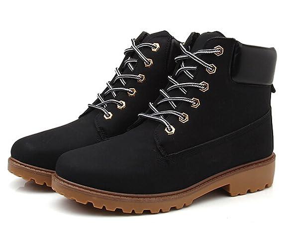 Herbst Winter Frauen und Herren schnüren sich oben Stiefel, Arbeitssicherheit Marten Stiefel Paar Rutschfeste Schuhe plus Größe (46, Schwarz)