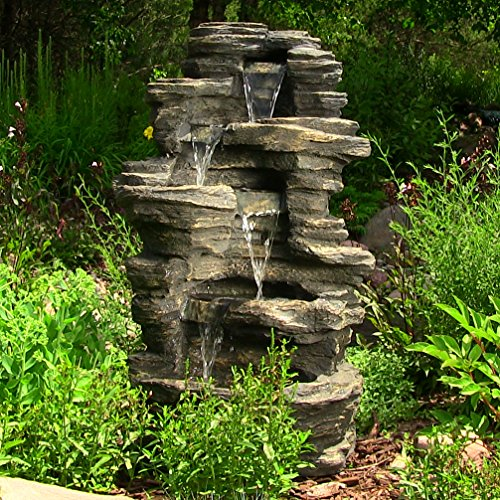 Sunnydaze Rock Falls Electric Waterfall Fountain with LED...