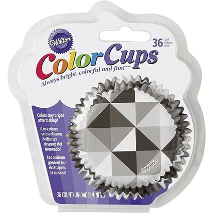 Wilton 415-5170 36 Count Geometric Cupcake Liners, Black & White