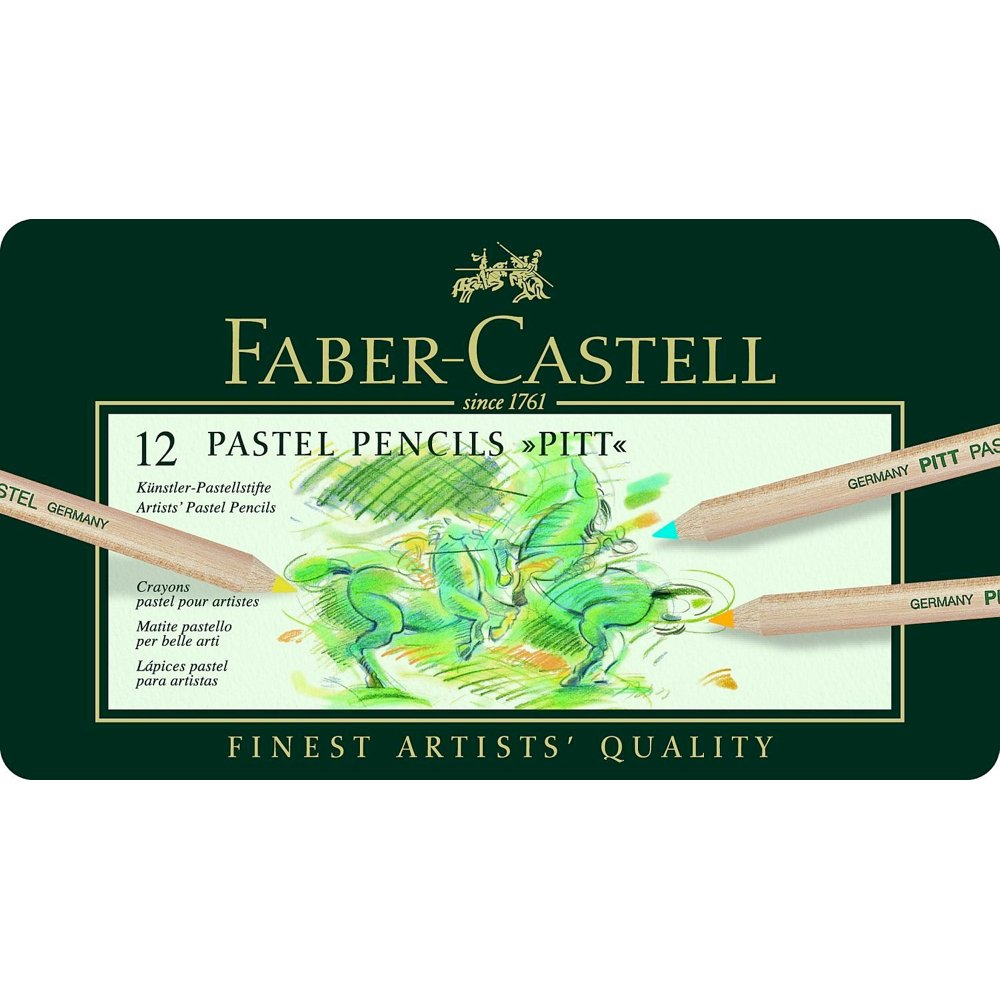 Faber-Castel FC112112 Pitt Pastel Pencils in A Metal Tin (12 Pack), Assorted