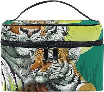 Tiger Mother and Kid Women Travel Cosmetic Bag Estuche de tren de maquillaje portátil Bolsa de aseo Organizador de belleza: Amazon.es: Belleza