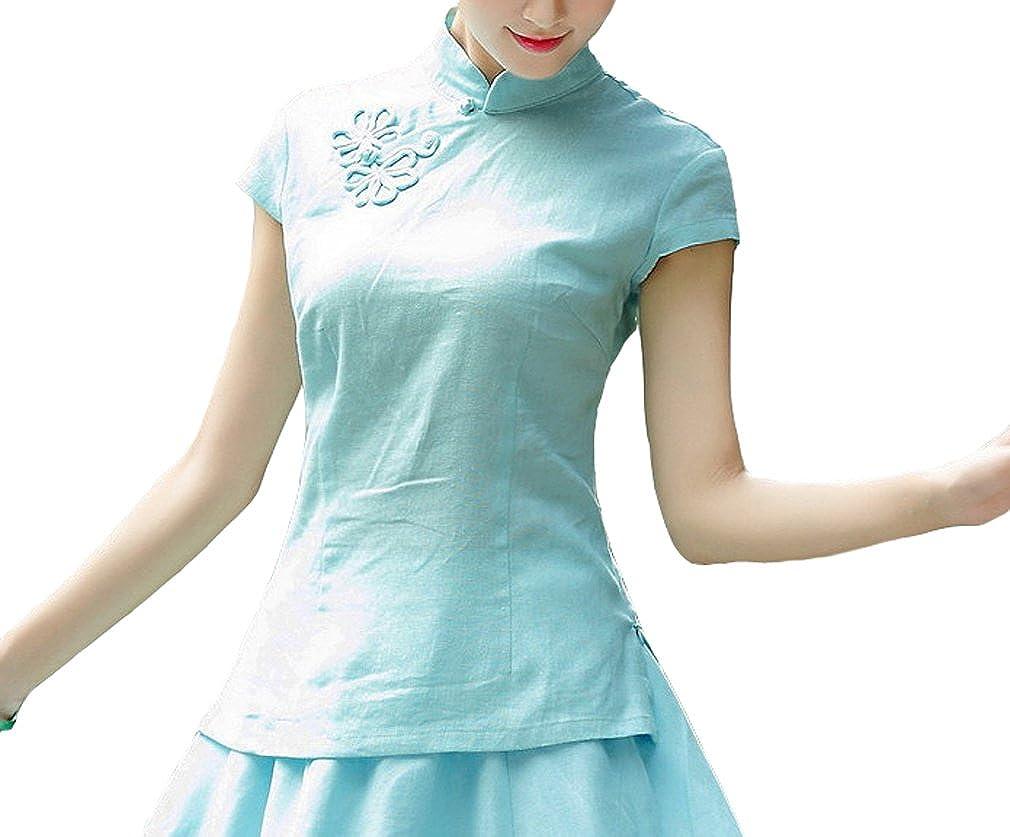 Amazon.com: yuelian traje Cap Sleeve Lino de blusa Tang ...