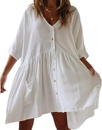 AiJump Floral Encaje Túnica Vestido de Playa Kimonos Pareos Bohemia Camisa Verano para Mujer: Amazon.es: Ropa y accesorios