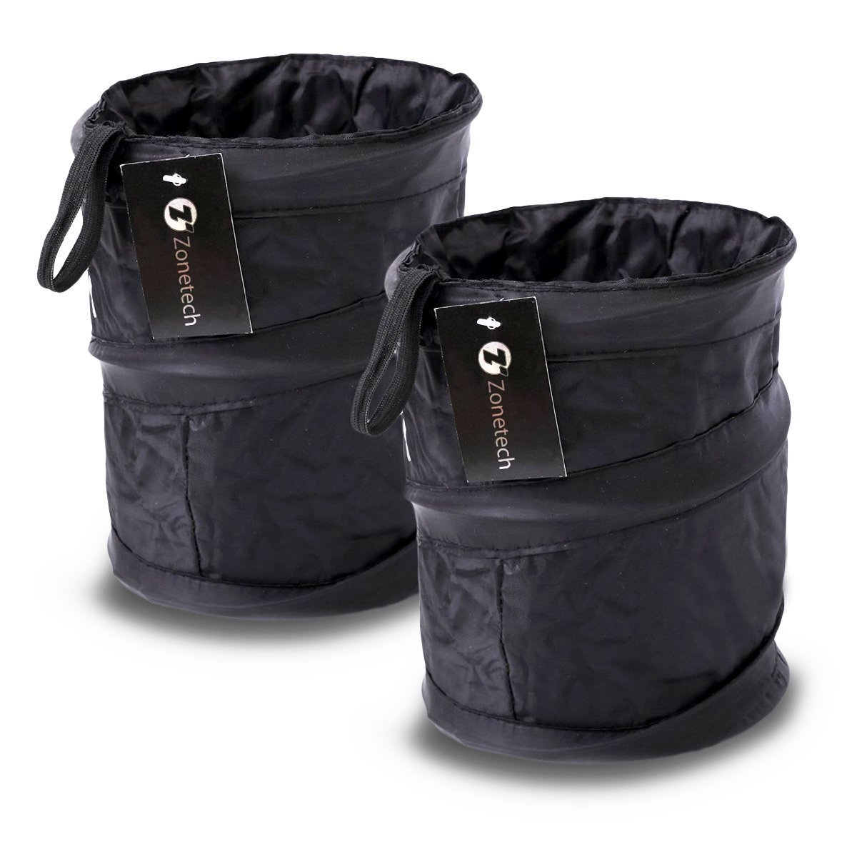 Zone Tech 2-Pack Universal Traveling Portable Car Trash Can - Black Collapsible Pop-up Leak Proof Trash Can