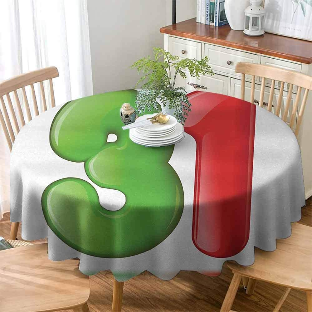 """Betsy Barnard Washable Tablecloth 31st Birthday,3D Style Volume Figure Number 31 Greeting Celebration Themed Design,Green Red White ,for Kitchen Dinning Tabletop Decoratio 70"""" inch"""