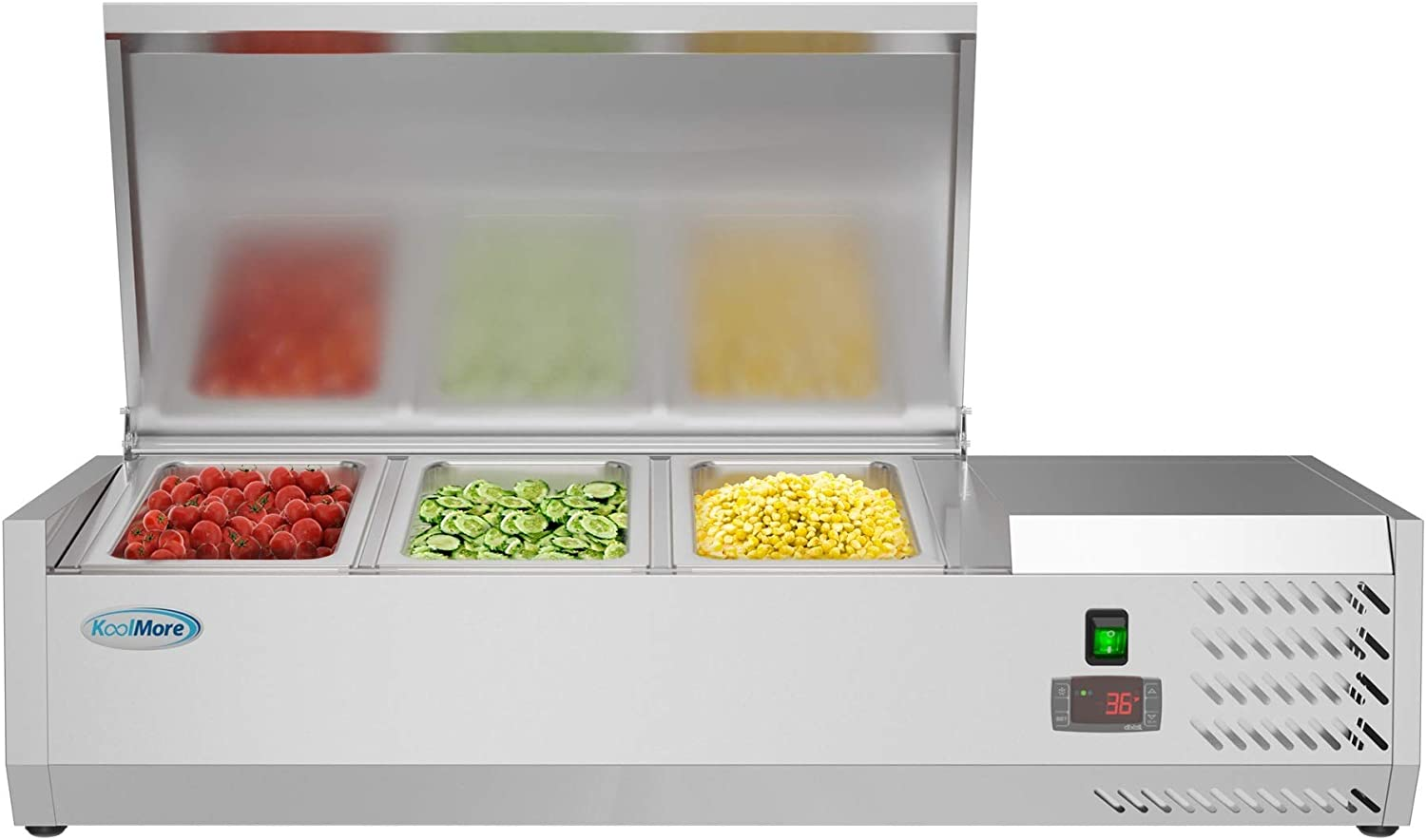 """KoolMore 40"""" Refrigerated Countertop Condiment Prep Rail Sandwich Prep Station with Stainless Steel Cover - Includes Three 1/3 Pans, Silver"""