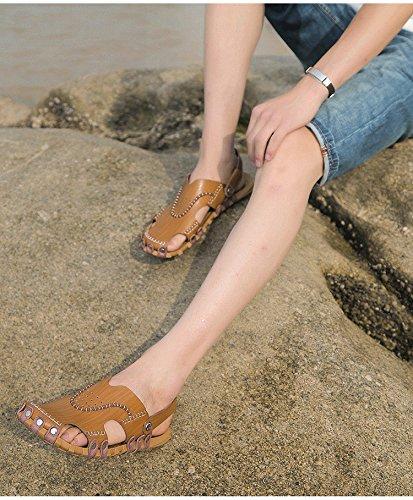 Pattini respirabili della spiaggia degli uomini dei sandali della fibra di estate degli uomini nuovi Uomini di tempo libero dei pattini dei pattini degli uomini, Khaki, UK = 7.5, EU = 41 1/3