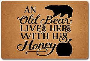 ZQH Entrance Door Mat an Old Bear Lives Here with His Honey Doormat Monogram Bear Honey Doormat (23.6 X 15.7 in) Non-Woven Fabric Top with a Anti-Slip Rubber Back Door Rugs Washable Doormat