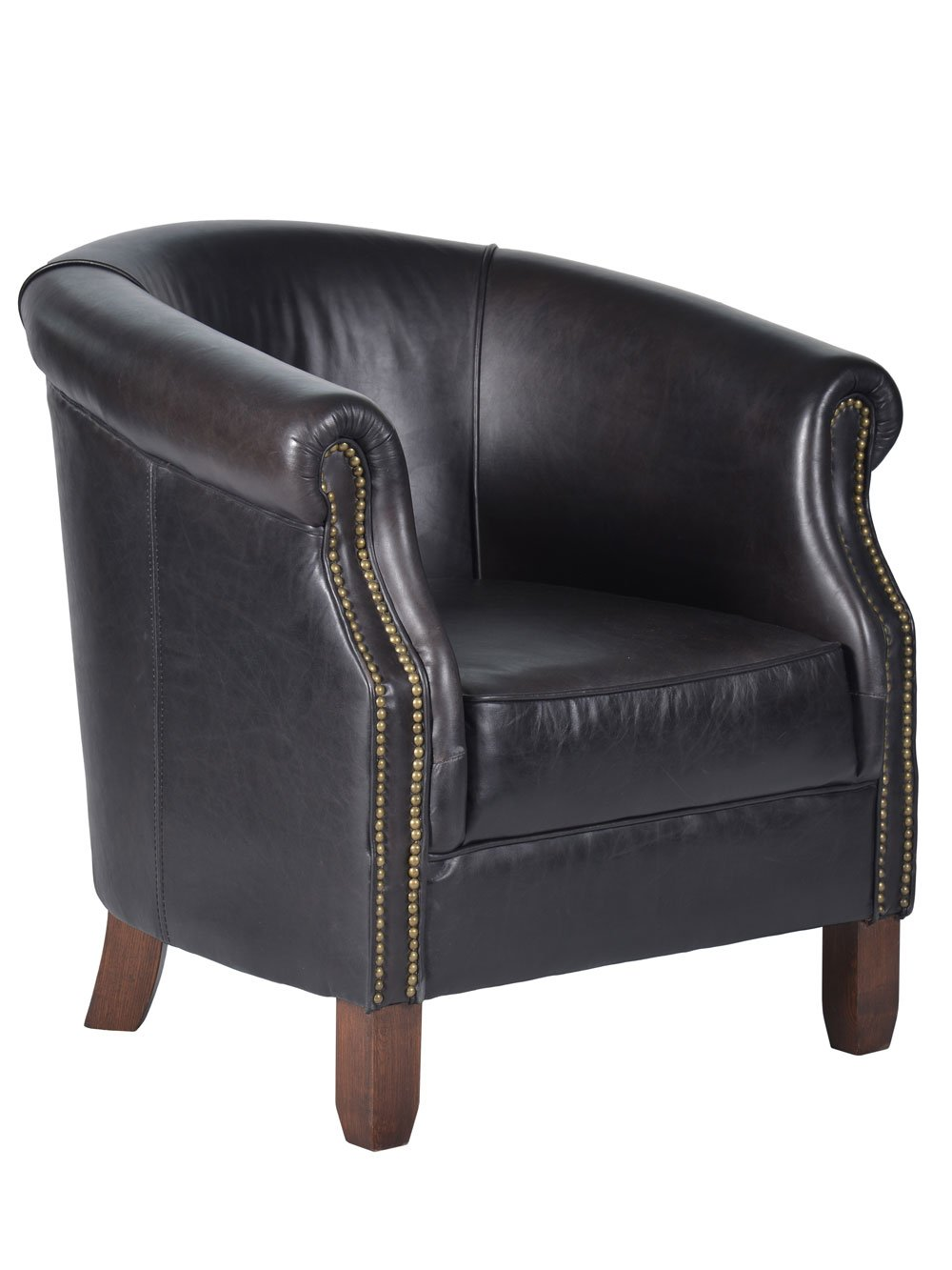Nottingham Tub Chair old Saddle Black Echtleder Sessel schwarz