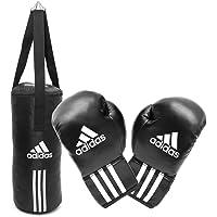 adidas JUNIOR BOXSET 7 Kilo gefüllt für KIDS Jugendliche Kinder und mehr, Box-Set Sandsack Boxsack + Boxhandschuhe, Box- Handschuhe, Teens, schwarz, fertig gefüllter ADIBACJR
