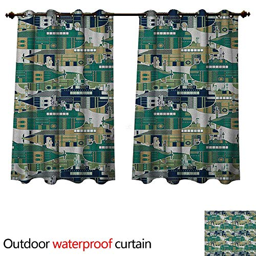 Anshesix Retro Outdoor Curtains for Patio Sheer Old School Submarine Concept with Torpedoes Vintage Hand Drawn Squares Circles Image W108 x L72(274cm x ()