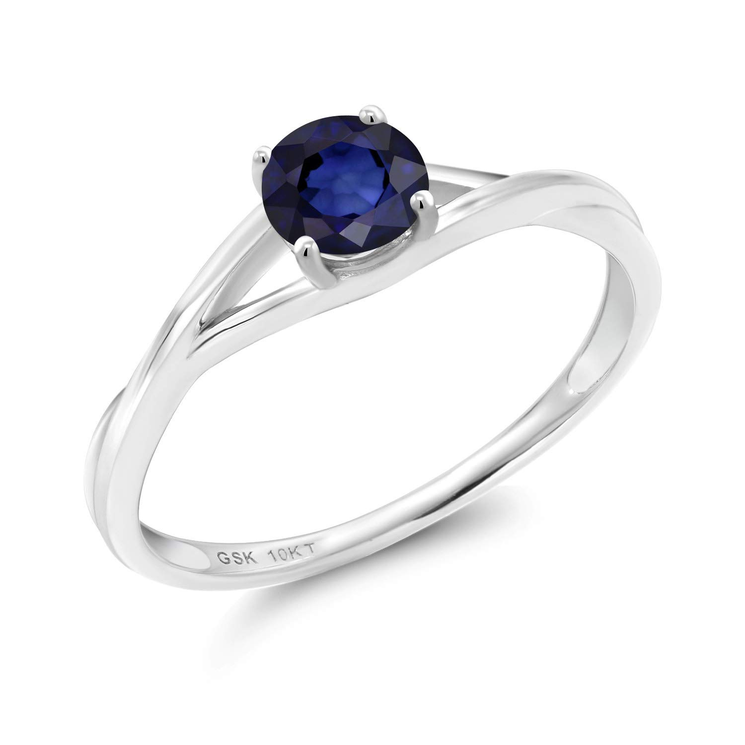 Gem Stone King 0.56 Ct Round Blue Sapphire 10K White Gold Solitaire Engagement Ring (Size 5) by Gem Stone King