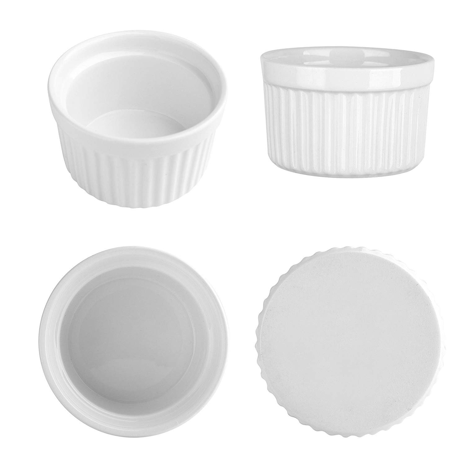 4 oz. Porcelain Ramekins, Porcelain Souffle Dishes, Ramekins for Souffle, Creme Brulee and Dipping Sauces - Set of 8, White by MAMA-AI (Image #2)