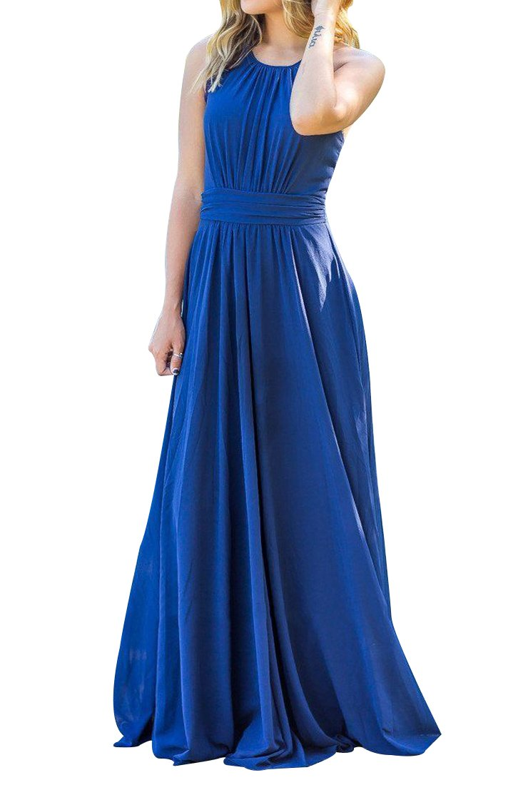 U-WARDROBE Womens Elegant Sleeveless Chiffon Bridesmaid Party Prom Dress Long Maxi (XS, Navy)