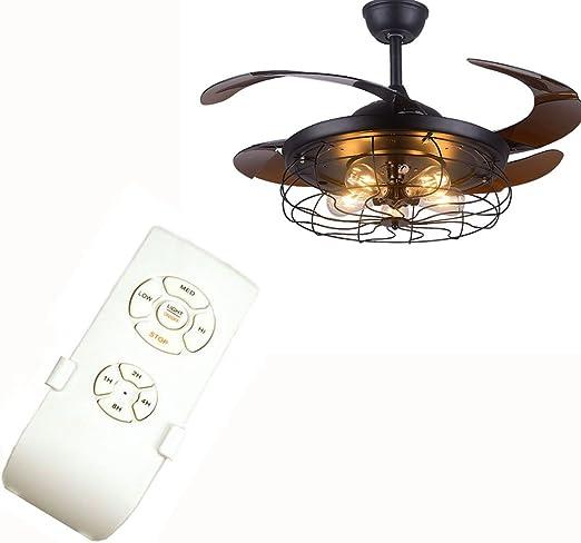 MXK-Lampe Ventilador De Techo Invisible Negro Retro, Ventilador De ...
