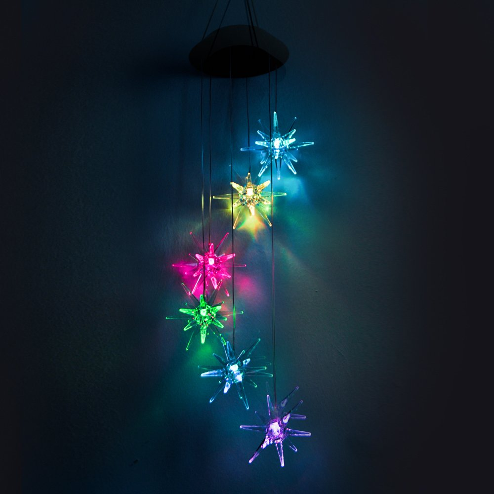 Lainin LED Solar Wind Spinner Color Changing Urchin Star Wind Chime Lamp For Home Outdoor Garden Patio Decor