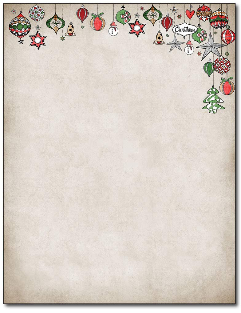 Vintage Ornaments Christmas Holiday Stationery - 80 Sheets Great Papers
