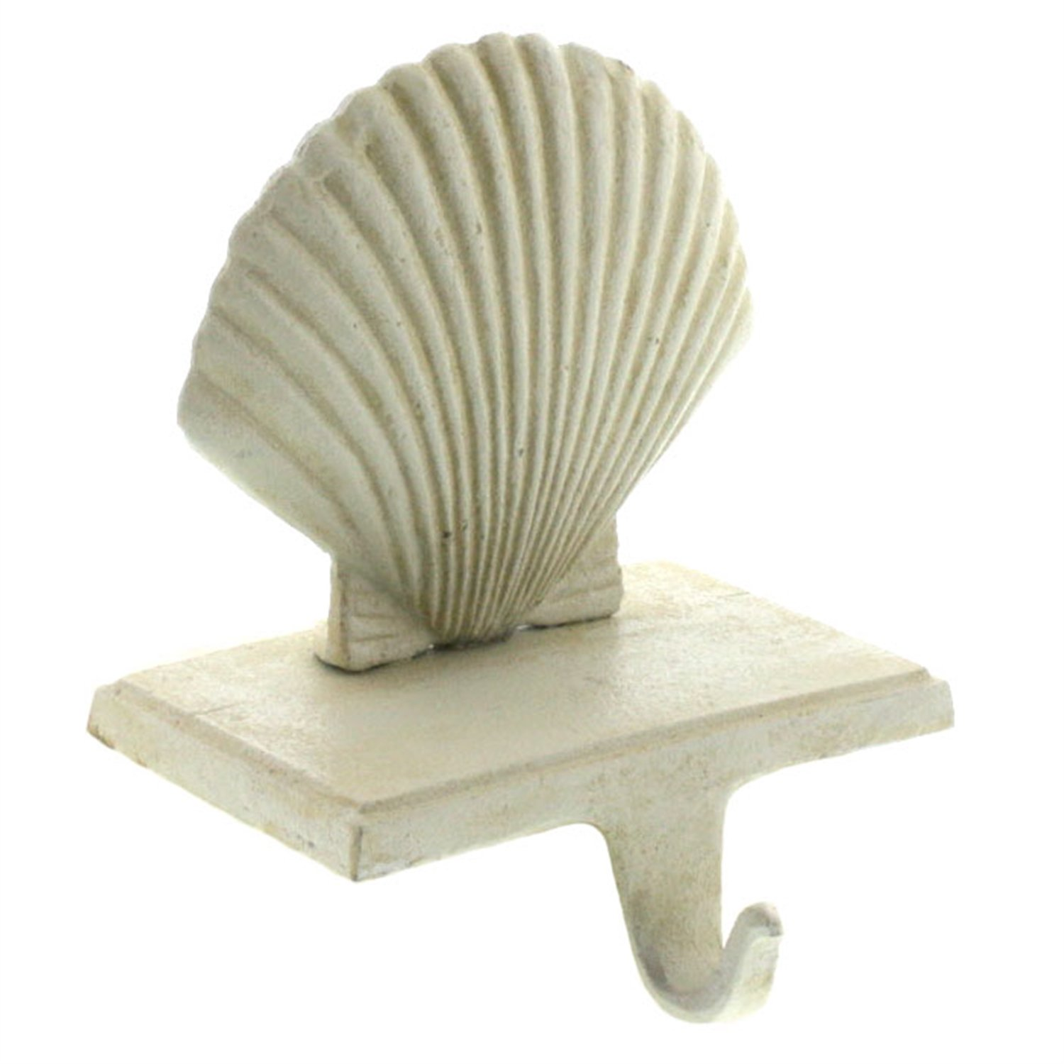 HomArt Scallop Stocking Holder - Cast Iron (Antique White) (Set of 12)