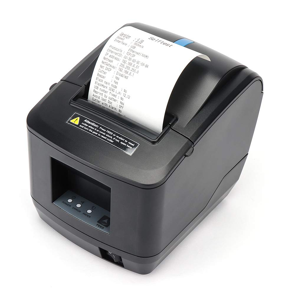 80MM Thermal Receipt POS Printer MUNBYN USB Ethernet LAN Printer with Auto Cutter for Supermarket Clothing Store Home Business Support DHCP Auto Set IP ...