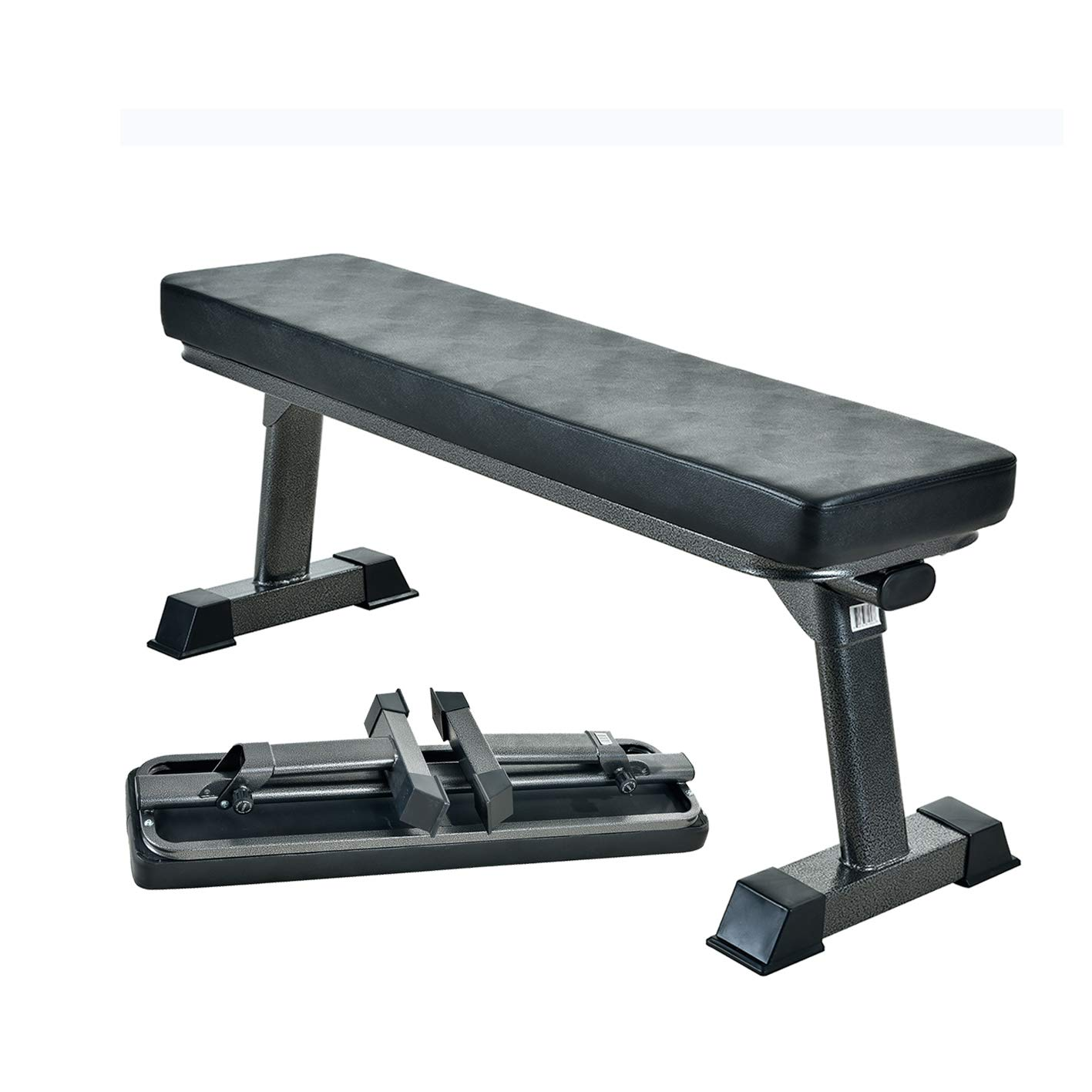 Finer Form Gym Quality Foldable Flat Bench for Multi-Purpose Weight Training and Ab Exercises (Black)