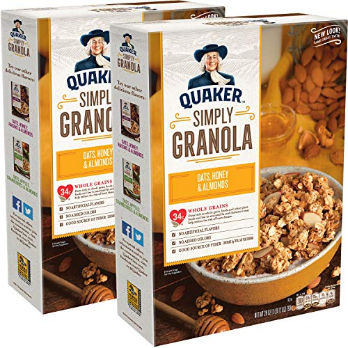 Quaker Simply Granola Oats, Honey & Almonds, Breakfast Cereal, 28 oz Boxes, Twin -