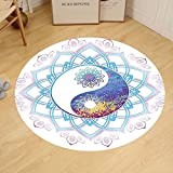 Gzhihine Custom round floor mat India Yin Yang Symbol Mandala Hippie Asian Design with Floral Swirl Frame Image Bedroom Living Room Dorm Purple and Light Blue