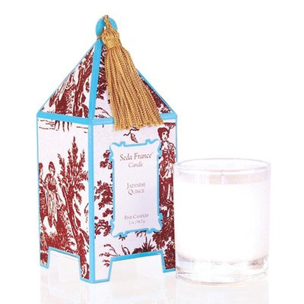 Seda France Classic Toile Japanese Quince Mini Pagoda Candle