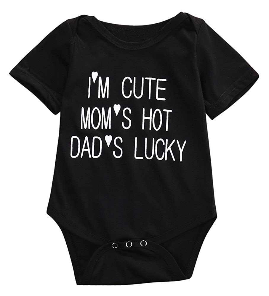 I'M CUTE and MOM'HOT Baby Infant Funny Bodysuits Newborn Vest Rompers