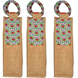 Javi Handmade Wine Bottle Holder in Jute & Cotton Material with Floral Motifs - Adorned with Twin Handles on the Top - Bags & Wraps for Wine Bottles pack of 3