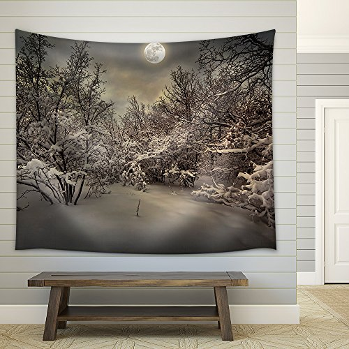 Moonlight Night in Winter Wood Fabric Wall Tapestry