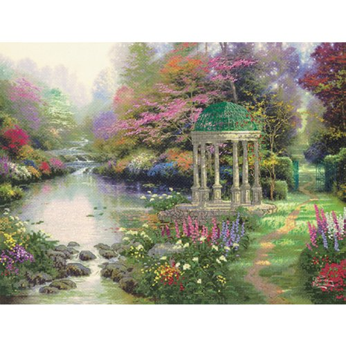 M C G Textiles Thomas Kinkade Garden of Prayer Embellished Cross Stitch Kit, 16 by 12-Inch