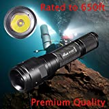Ano R105T Diving Flashlight with Push Power Switch, Underwater Dive Light (Neoprene Hand Glove M Size), 650ft/200M Waterproof, True 850 Lumens, Brighter Comparing with Most 1000 Lumens Flashlights