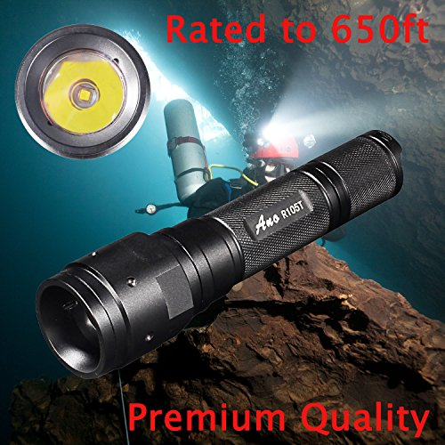 Ano R105T Dive Light Push Power SwitchInclude ICR18650 Battery Underwater Diving Flashlight 650ft Waterproof ()