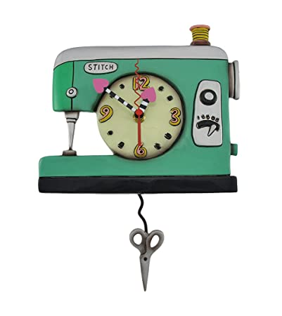 Allen Designs Resin Wall Clocks Stitch Sewing Machine Pendulum Wall Clock 9 X 7.5 X 2 Inches Green