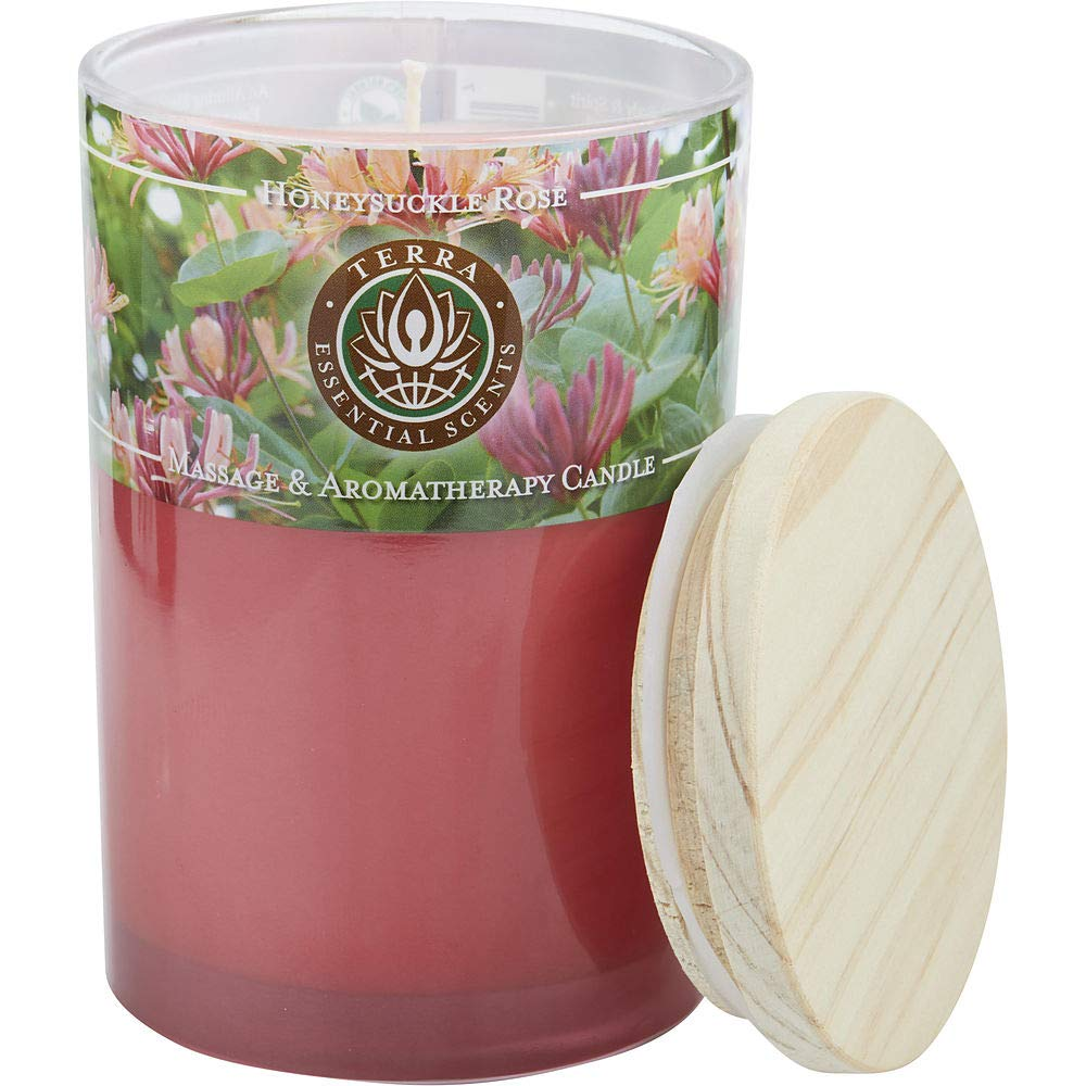 HONEYSUCKLE & ROSE by Honeysuckle & Rose MASSAGE & AROMATHERAPY SOY CANDLE 12 OZ TUMBLER. A PEACEFUL & UPLIFTING BLEND WITH ROSE QUARTZ GEMSTONE. BURNS APPROX. 30+ HOURS ( Package Of 2 )