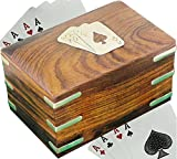 SKAVIJ Wooden Handmade Playing Card Case for 2 Deck of Cards (4.8''x3'', Brown)