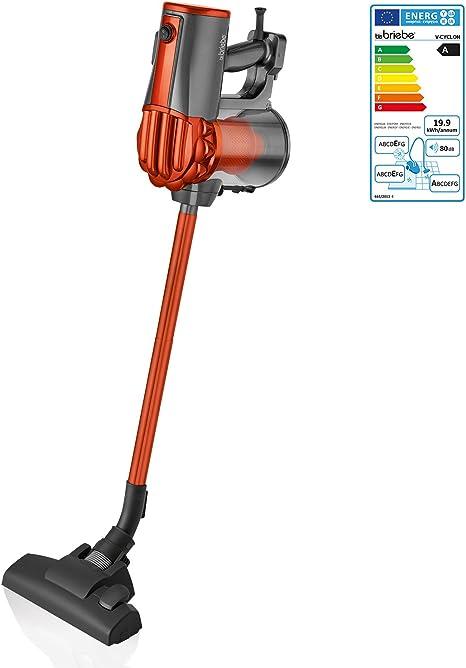 briebe V-Cyclon - Aspirador ciclónico Escoba sin Bolsa Potente, Uso Vertical y de Mano, 600W, Radio acción 6,5 m, Color Naranja: Amazon.es: Hogar